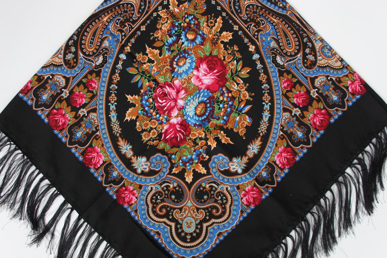 Платок павлопосадский черный шерстяной (140см) 606010