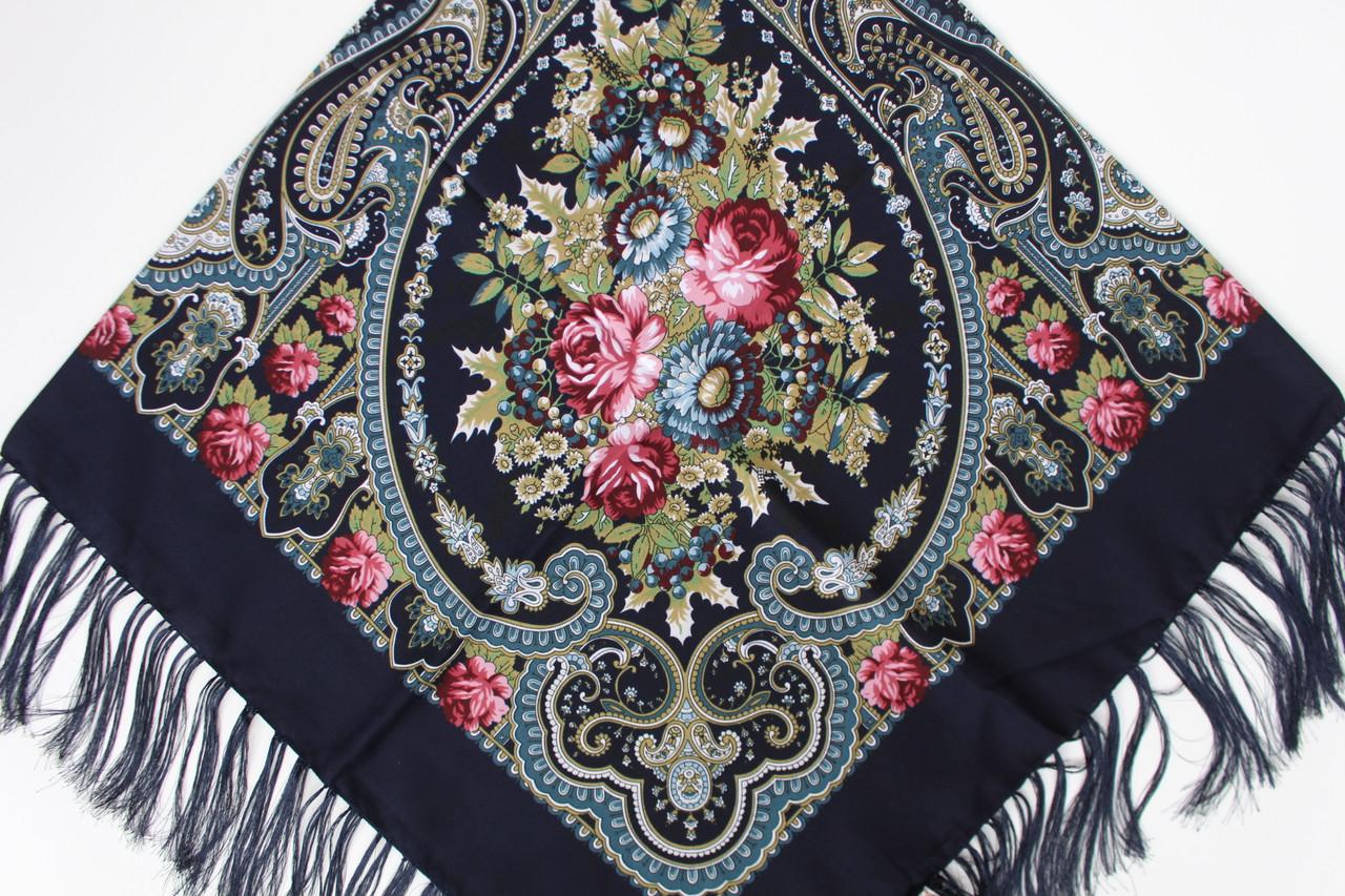 Платок павлопосадский синий шерстяной (140см) 606012