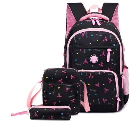 Рюкзак школьный HiFlash с сумочкой и пеналом черный с розовым, фото 2