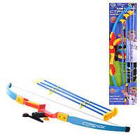 Лук M 0347 U/R (18шт) 74см, прицел, лазер, стрелы на присосках 3шт 56см, на листе, 78-20см Н