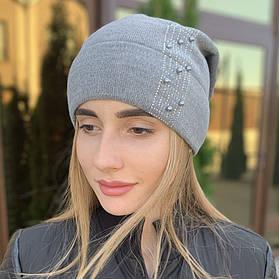 """Женская шапка """"Diana"""" со стразами серый"""