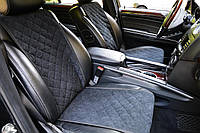 Накидки на передние сиденья Motowey из искусственной замши Черные (2622)