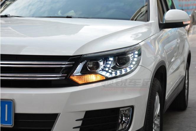 Передние фары Led тюнинг оптика VW Tiguan 2012+ оригинальный стиль ксенон