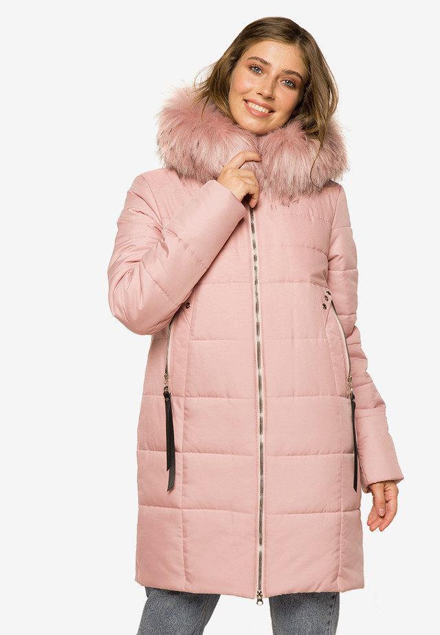 Двухфактурная зимняя женская куртка с прорезными карманами  розовьій размер 44-46 48-50 52-54