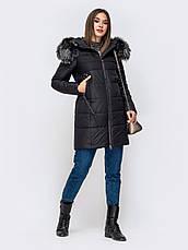 Двухфактурная зимняя женская куртка с прорезными карманами  розовьій размер 44-46 48-50 52-54, фото 3