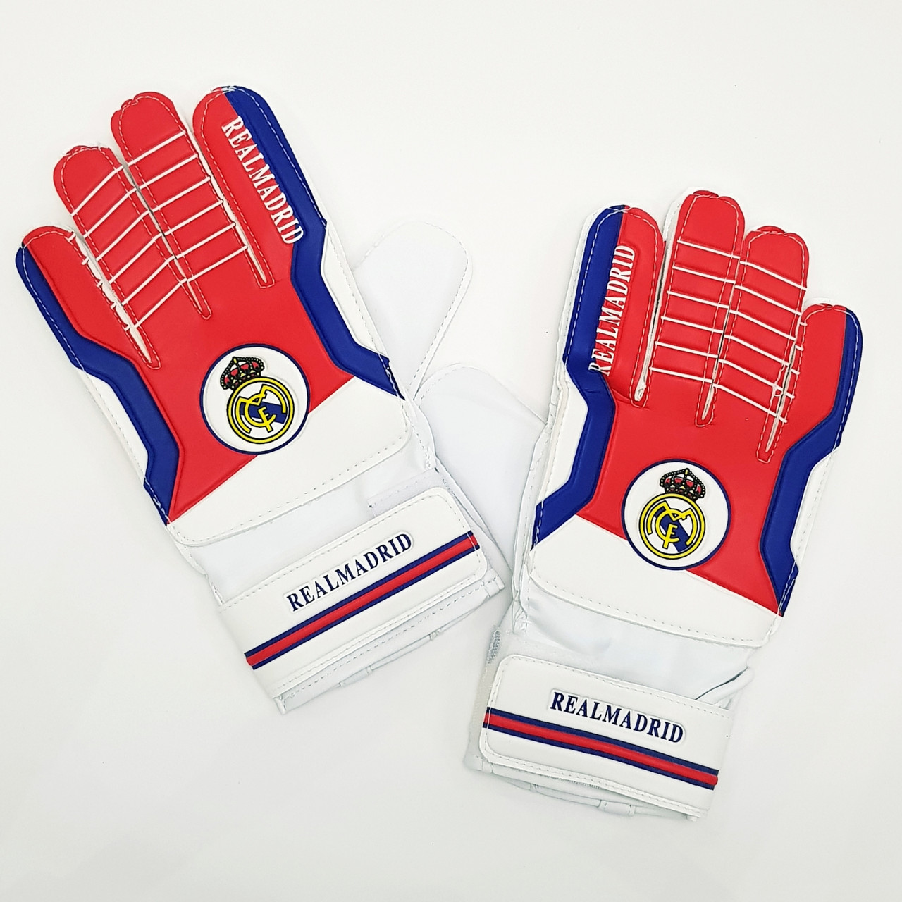Перчатки вратарские REAL MADRID PVC, р-р 8-10, синий-красный