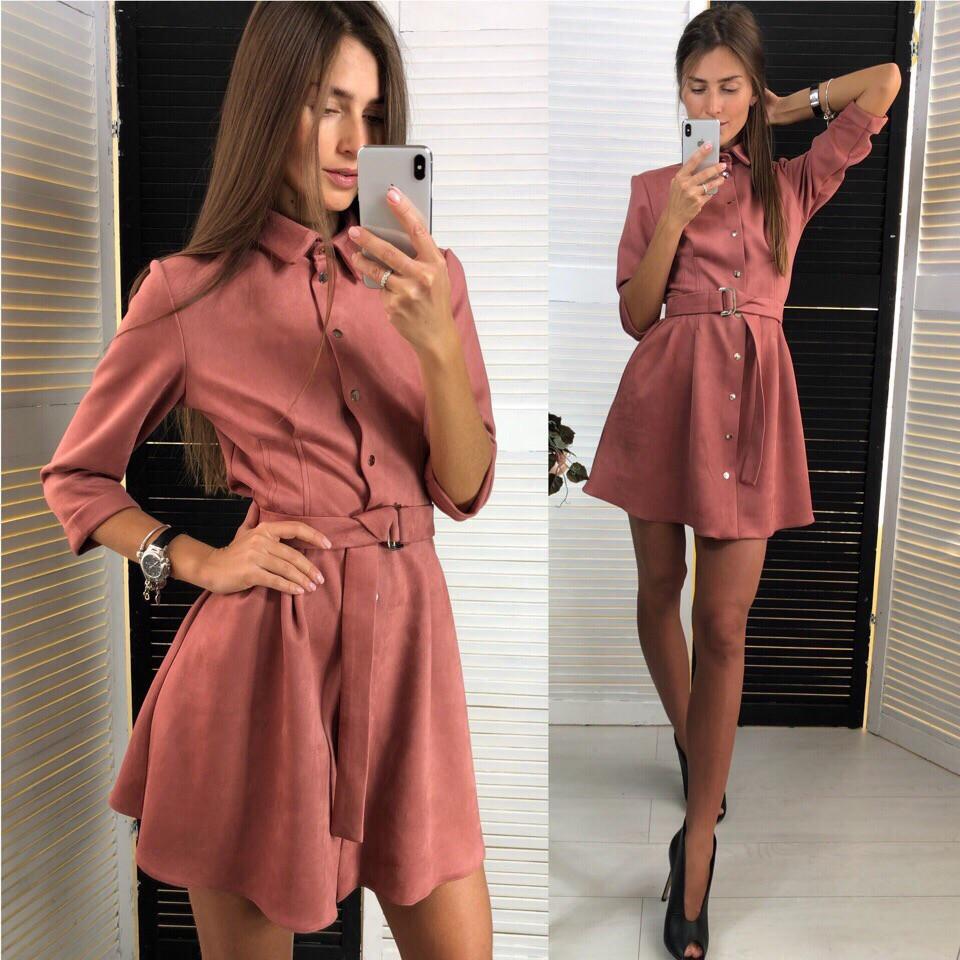 Женское замшевое весенне-осеннее мини платье на кнопках с рукавом три четверти (замш на дайвинге) 2 цвета