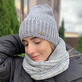 """Модная женская шапка """"Аризона"""" с отворотом серый"""