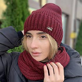 """Модная женская шапка """"Аризона"""" с отворотом марсала"""
