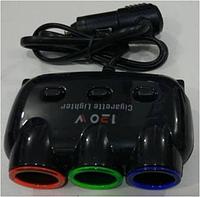 Разветвитель прикуривателя 3 гнезда 1506 чёрный, Универсальная автозарядка-тройник, Зарядка USB в машину