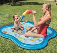 Бассейн детский 57126 с фонтанчиком 140*140*11 см, Бассейн для ребенка с мини фонтанчиками, Надувной бассейн