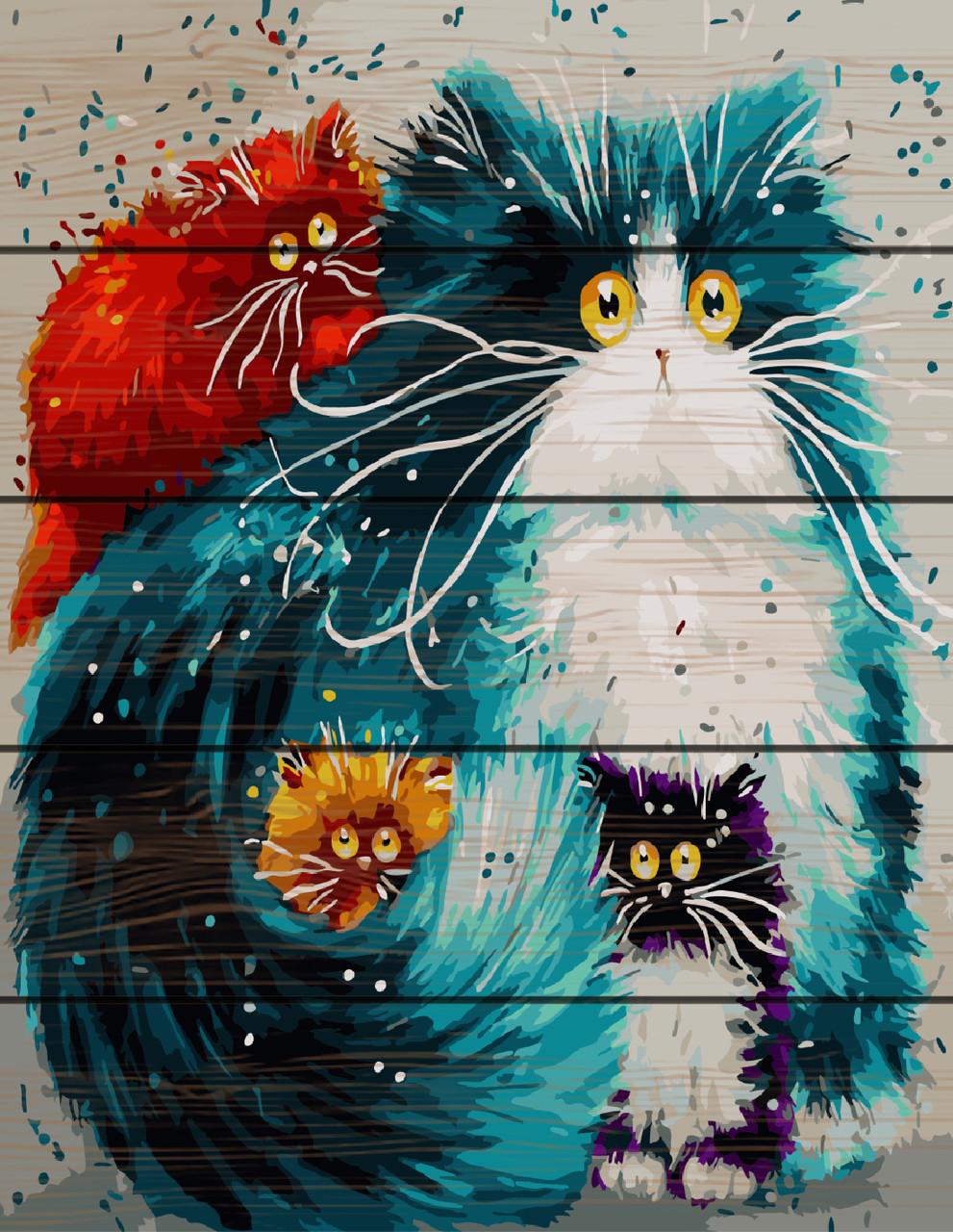 PREMIUM Картина по номерам на дереве 40х50 см.  Цветные коты Rainbow Art