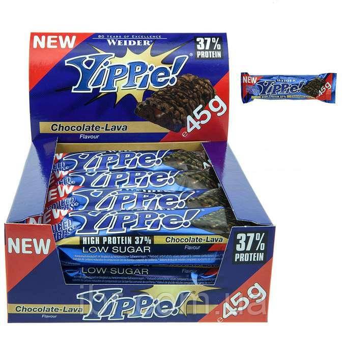 Протеиновый батончик WEIDER Yippie! 45 g Chocolate-Lava 12 шт
