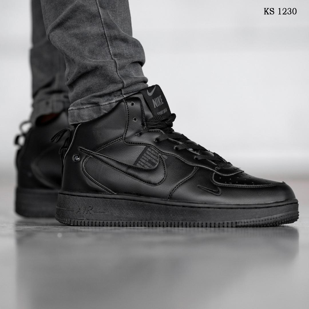 Мужские кроссовки Nike Air Force 1 LV8 High (черные) ЗИМА