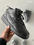 Мужские кроссовки Nike Air Force 1 LV8 High (черные) ЗИМА, фото 3
