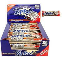 Протеиновый батончик WEIDER Yippie! 45 g Triple Chocolate 12 шт, фото 1