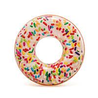 """56263 Круг 114см Пончик"""", Надувной круг пончик с присыпкой, Большой круг для плавания, Круг для бассейна"""