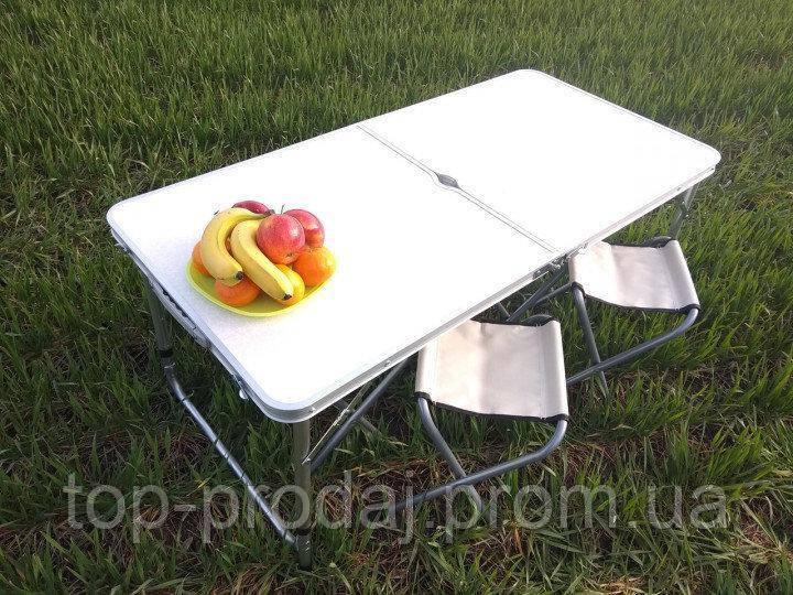 Стол для пикника Folding table white в комплекте входят 4 стула, Кемпинговая мебель, Складной стол на природу