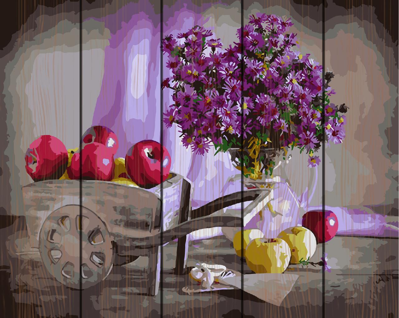 PREMIUM Картина по номерам на дереве 40х50 см. Осенний урожай  Rainbow Art