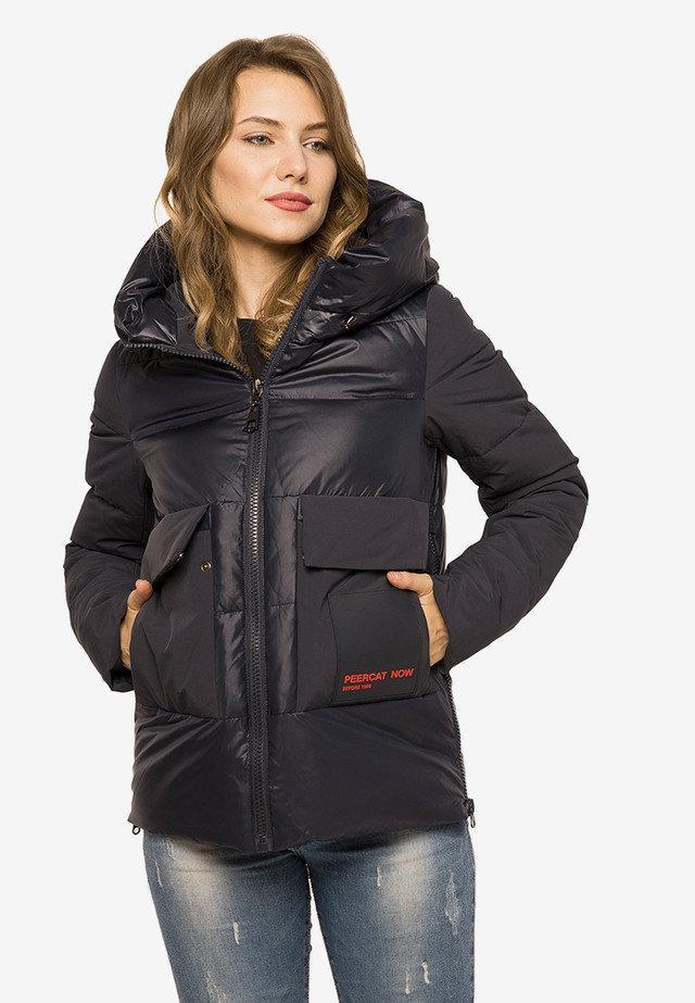 Короткий женский зимний пуховик  с капюшоном темно-синий размер 42 44 46 48 50