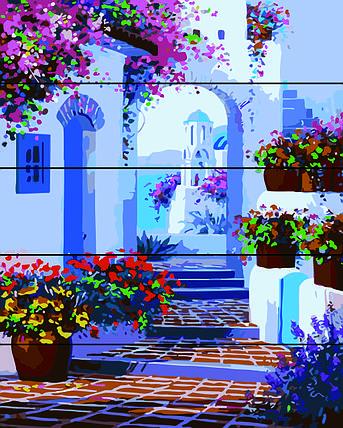 PREMIUM Картина по номерам на дереве 40х50 см. Весна на Санторини Rainbow Art, фото 2