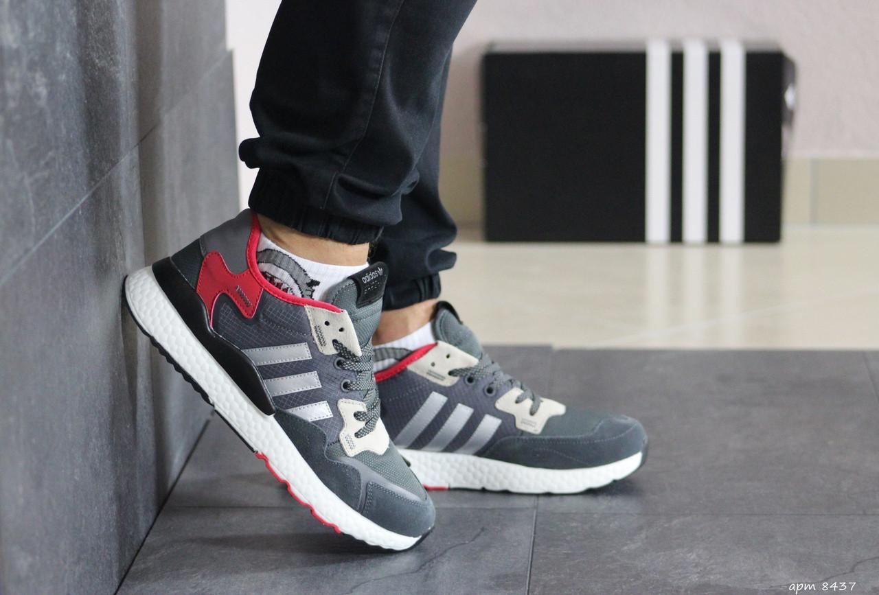 Мужские кроссовки Adidas Nite Jogger Boost (серо-красные)