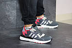 Мужские кроссовки Adidas Nite Jogger Boost (серо-красные), фото 2