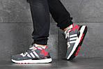 Мужские кроссовки Adidas Nite Jogger Boost (серо-красные), фото 4