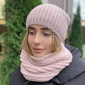 """Удлиненная женская шапка """"Невада"""" с люрексом пудра"""