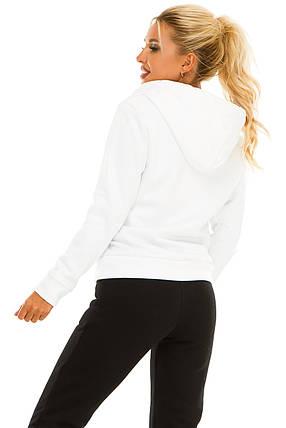 Женская кофта на молнии 722 белая, фото 2