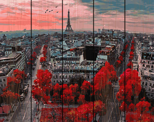 PREMIUM Картина по номерам на дереве 40х50 см. Алые краски Парижа Rainbow Art, фото 2