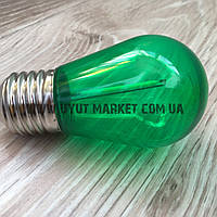 Светодиодная лампочка зеленая, 1Вт S14 Е27 для уличных гирлянд