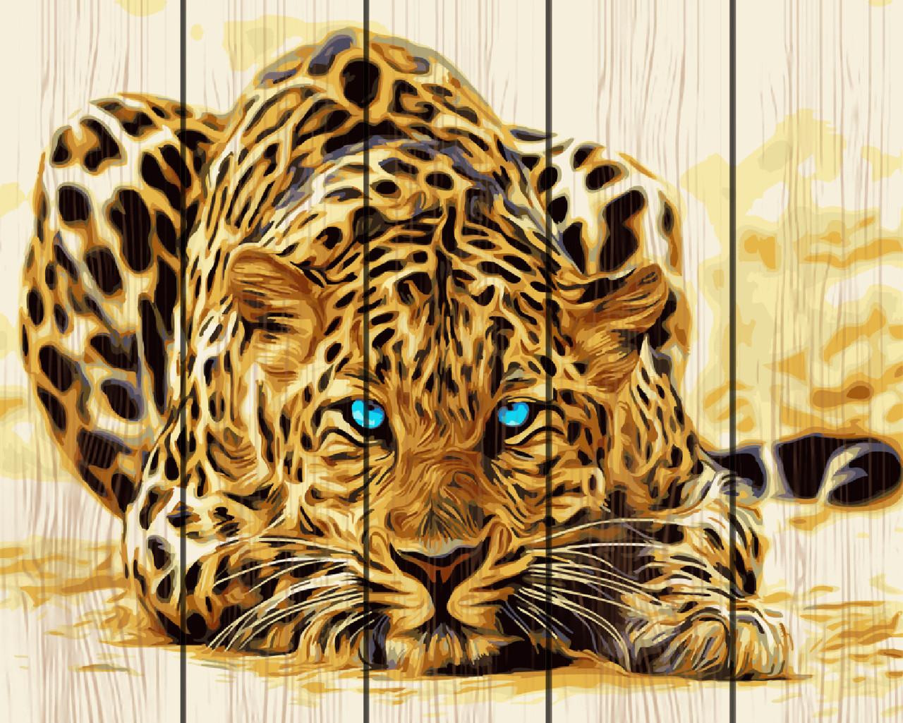 PREMIUM Картина по номерам на дереве 40х50 см. Голубоглазый леопард Rainbow Art