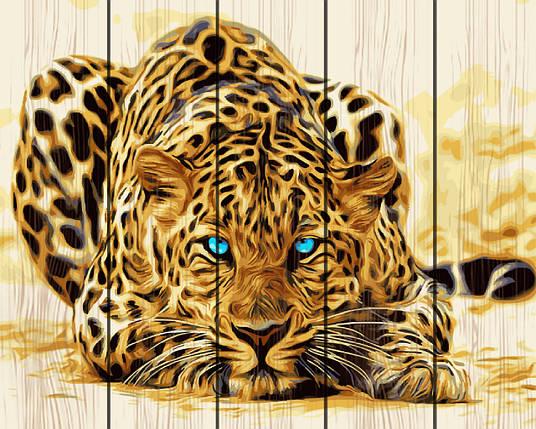 PREMIUM Картина по номерам на дереве 40х50 см. Голубоглазый леопард Rainbow Art, фото 2
