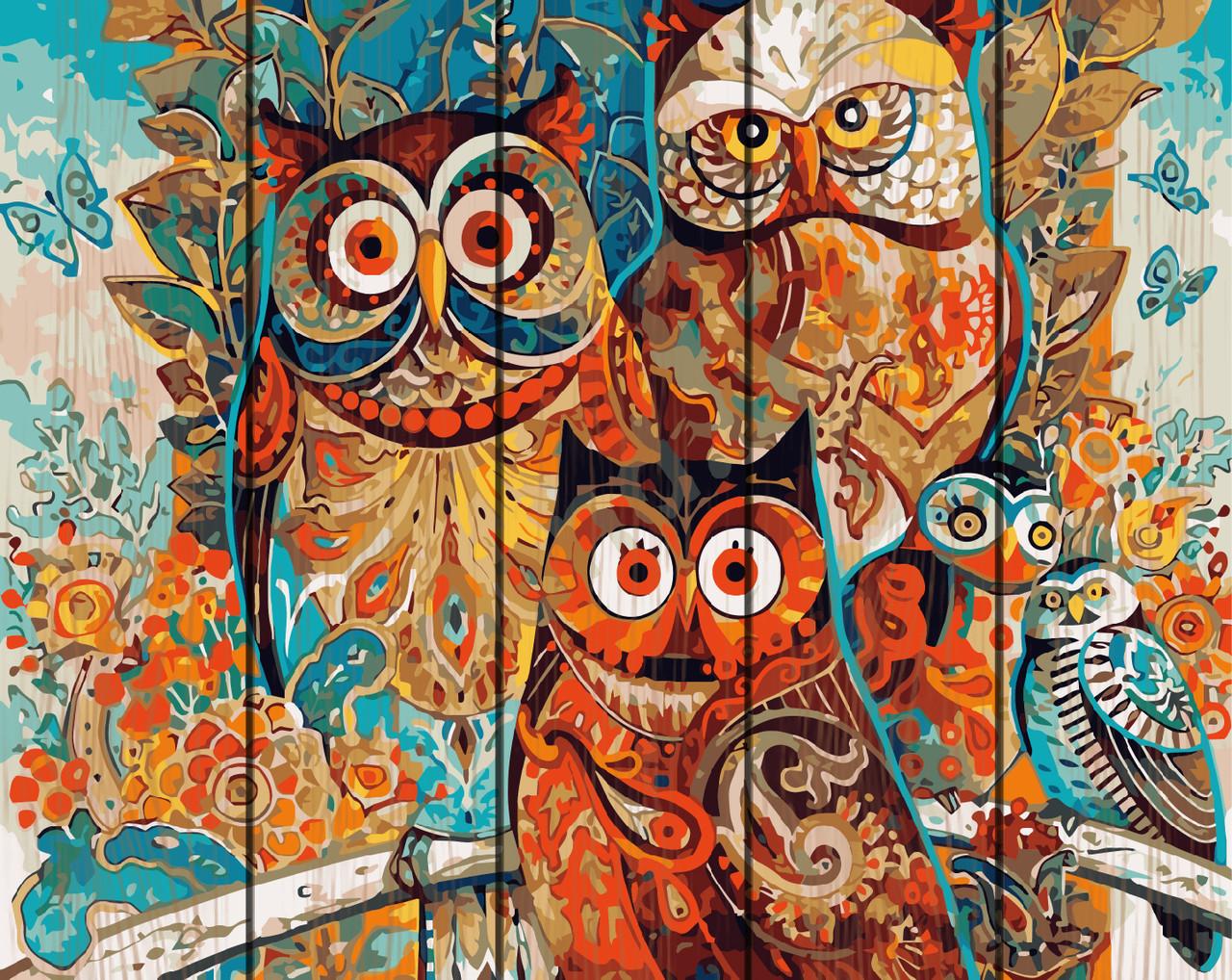 PREMIUM Картина по номерам на дереве 40х50 см. Волшебные совы Rainbow Art