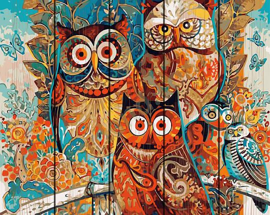 PREMIUM Картина по номерам на дереве 40х50 см. Волшебные совы Rainbow Art, фото 2