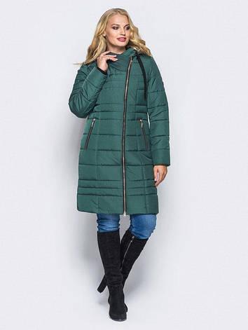 Зимная длинная куртка косухана силиконе приталенного силуэта зелений размер 44-46 48-50 52-54 56-58, фото 2