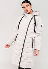 Зимная длинная куртка косухана силиконе приталенного силуэта зелений размер 44-46 48-50 52-54 56-58, фото 3