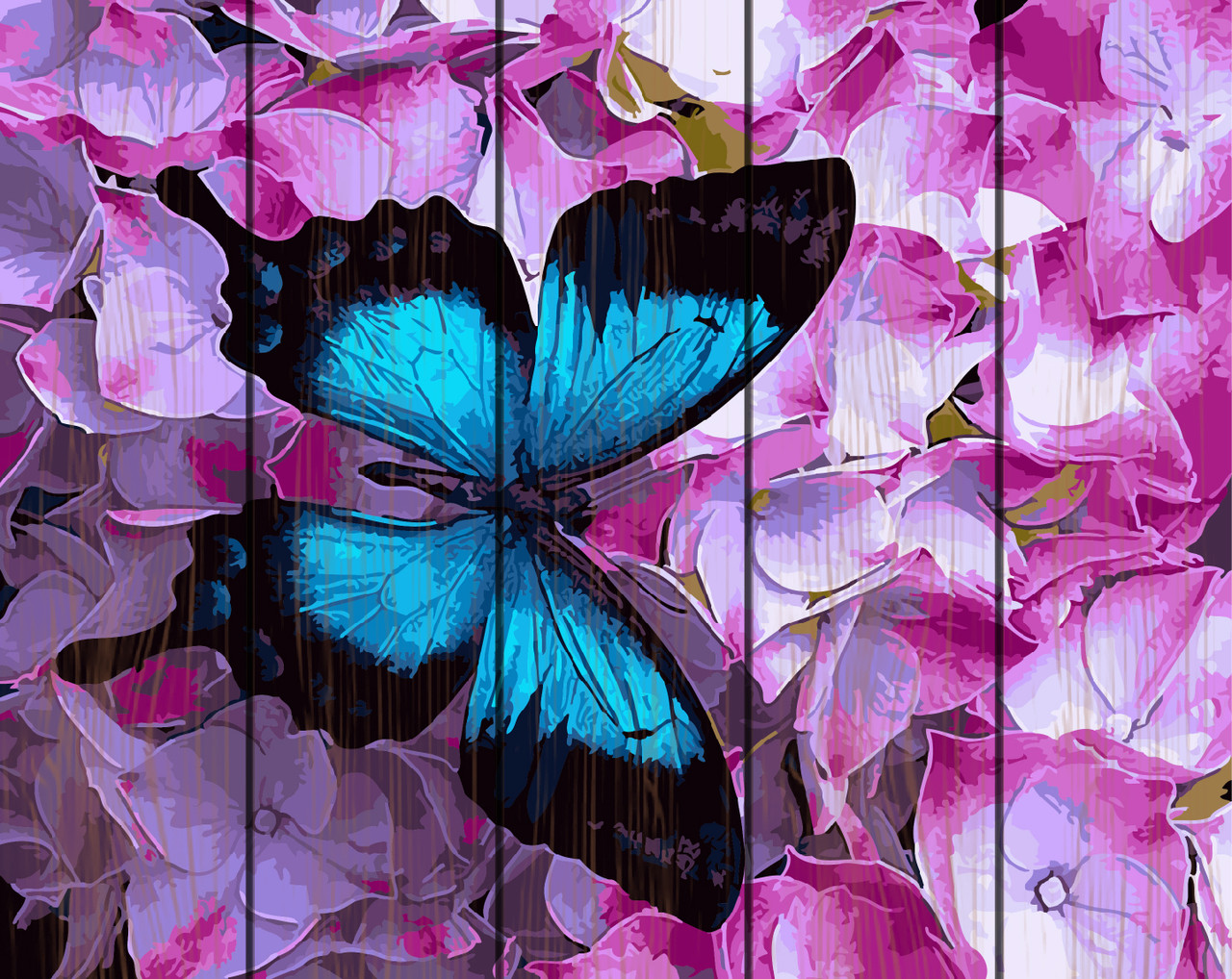 PREMIUM Картина по номерам на дереве 40х50 см. Бабочка в цветах Rainbow Art