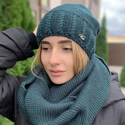 """Женская вязанная шапка """"Теннесси"""" с закрепом зеленый, фото 2"""