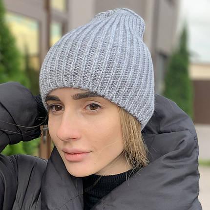 """Удлиненная женская шапка """"Невада"""" с люрексом серый, фото 2"""