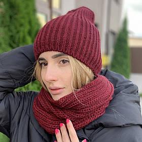 """Удлиненная женская шапка """"Невада"""" с люрексом марсала"""