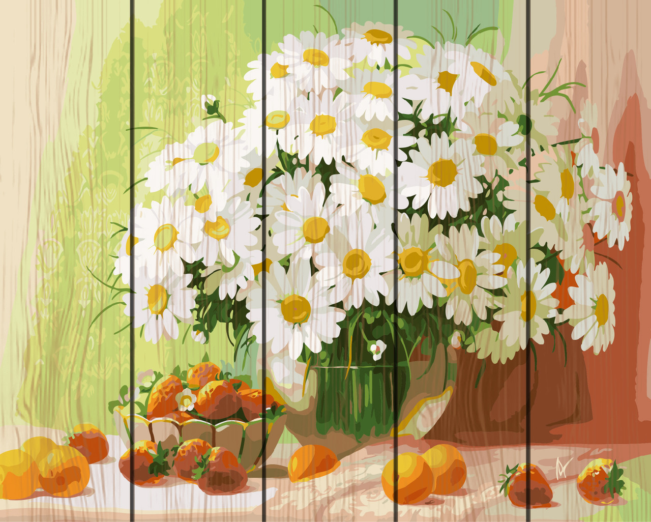 PREMIUM Картина по номерам на дереве 40х50 см. Букет ромашек Rainbow Art