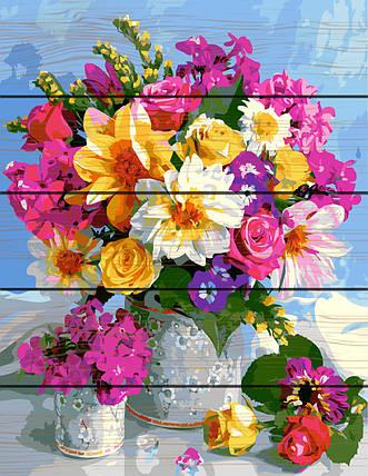 PREMIUM Картина по номерам на дереве 40х50 см. Роскошный букет Rainbow Art, фото 2