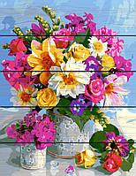PREMIUM Картина по номерам на дереве 40х50 см. Роскошный букет Rainbow Art