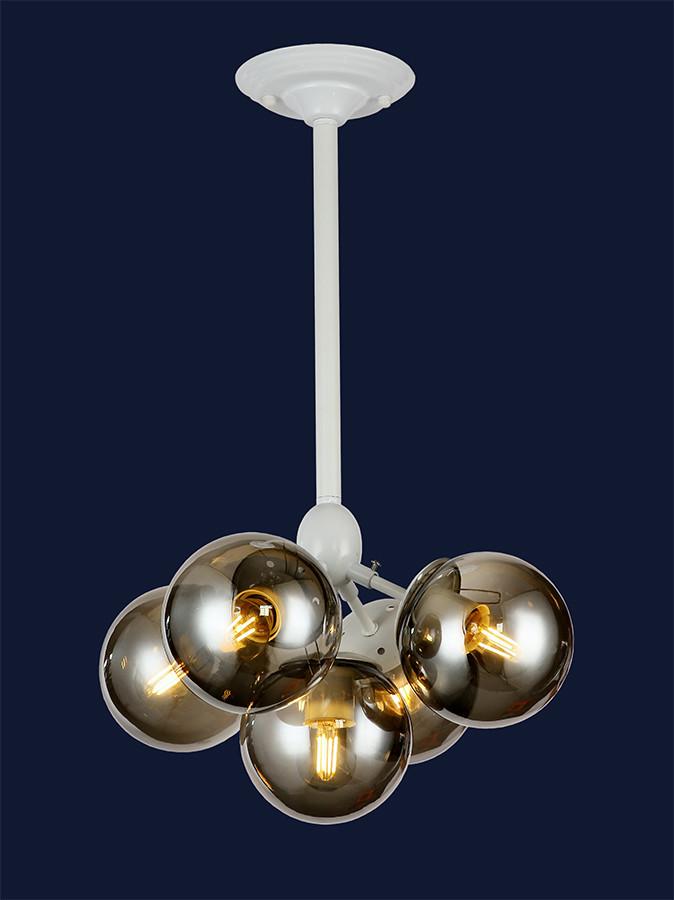 Белая потолочная люстра с плафонами шарами 756PL385-5 WH+BK