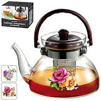 """Чайник - заварник Stenson """"Цветы"""" объем 1,6л, сито, боросиликатное стекло, чайничек, заварники, чайники, чайники и заварники"""