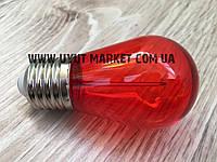 Светодиодная лампочка красная, 1Вт S14 Е27 для уличных гирлянд