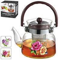 """Чайник - заварник Stenson """"Цветы"""" объем 600мл, сито, боросиликатное стекло, чайничек, заварники, чайники, чайники и заварники"""