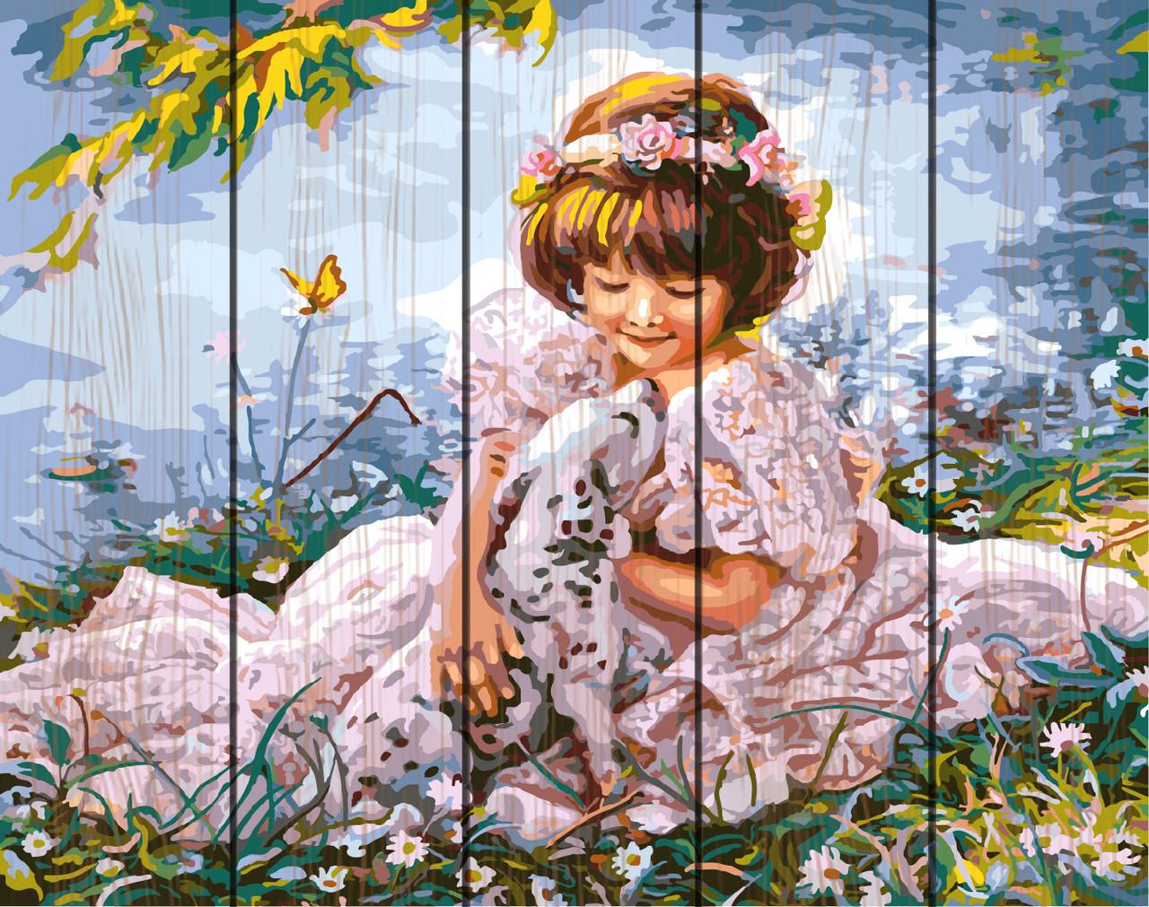 PREMIUM Картина по номерам на дереве 40х50 см. Девочка с долматинцем Rainbow Art